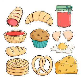 Disegnare a mano lo stile di una deliziosa pasticceria con marmellata di fragole, cupcake, formaggio e pane