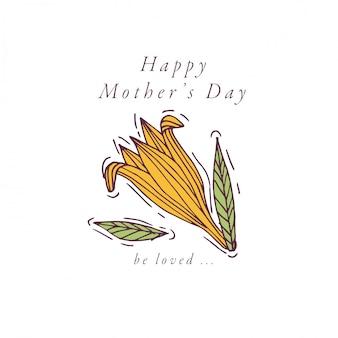 Disegnare a mano per la festa della mamma biglietto di auguri di colore colorato. tipografia e icona per sfondo vacanze di primavera, banner o poster e altri stampabili.