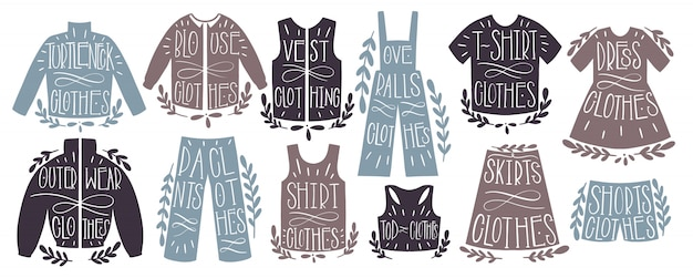Disegnare a mano set collezione abbigliamento di moda. forma il testo