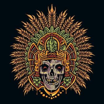 Disegnare a mano teschio azteco
