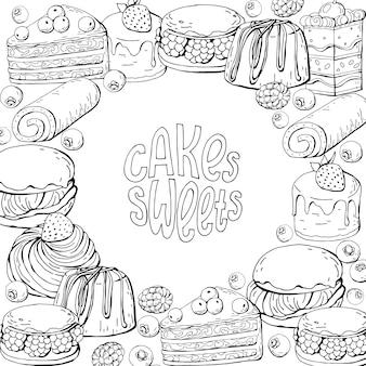 Disegnare a mano torte dolci e scritte in bianco e nero