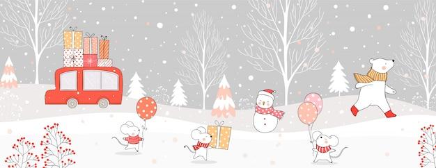 Disegnare auto portare confezione regalo e animali nella neve per natale e inverno.