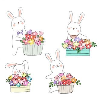 Disegnare coniglio carino con fiore in vaso concetto di primavera