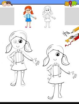 Disegnare e colorare il foglio di lavoro con la ragazza