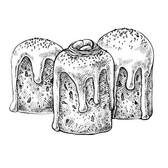 Disegnare la torta di pasqua. pane pasquale disegnato a mano, kulich. illustrazione