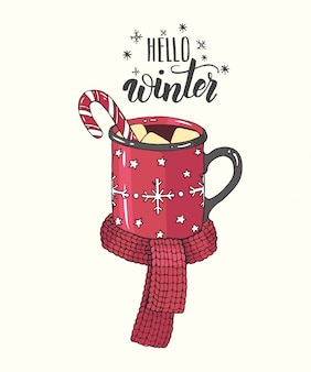 Disegnata a mano accogliente tazza di cioccolata calda con marshmallow, caramelle e sciarpa a maglia in stile schizzo