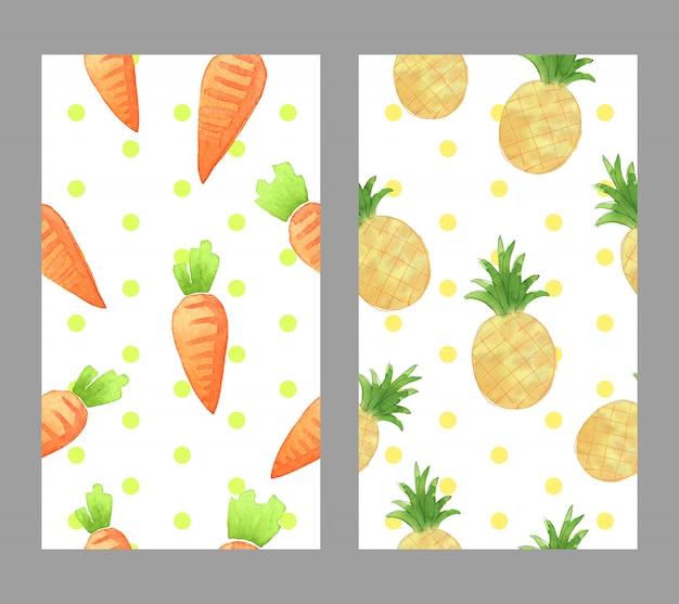 Disegnata a mano ad acquerello carota e ananas per carta da parati