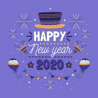 Disegnata a mano anno nuovo sfondo 2020
