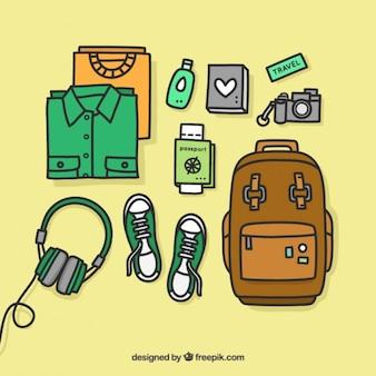Disegnata a mano attrezzature di viaggio