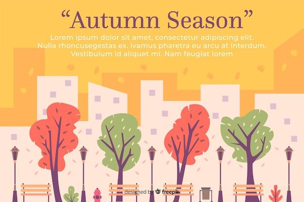 Disegnata a mano autunno città sullo sfondo