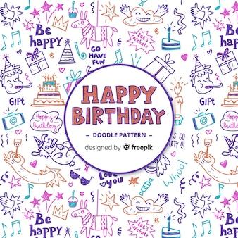 Disegnata a mano bella composizione di compleanno