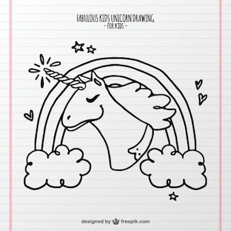 Disegnata a mano bello unicorno con un corno luminoso
