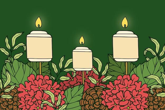 Disegnata a mano candela sfondo di natale