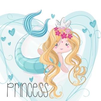 Disegnata a mano carina sirena
