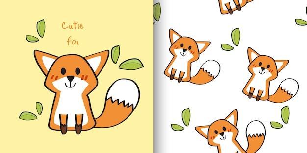 Disegnata a mano carino volpe modello infantile e senza soluzione di continuità