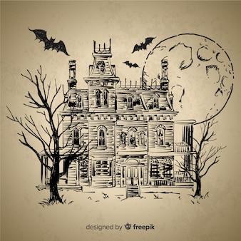 Disegnata a mano casa di halloween