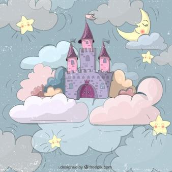 Disegnata a mano castello delle fiabe