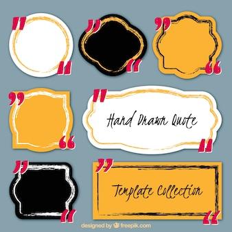 Disegnata a mano collezione di etichette, per le citazioni