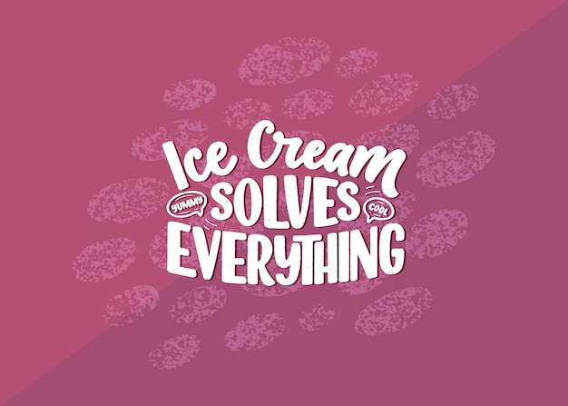 Disegnata a mano composizione scritta sul gelato.