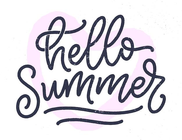 Disegnata a mano composizione scritta sull'estate. slogan di stagione divertente.