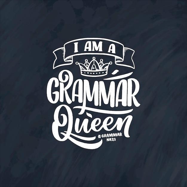 Disegnata a mano composizione scritta sulla grammatica. slogan divertente.