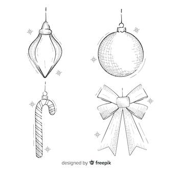 Disegnata a mano decorazioni natalizie