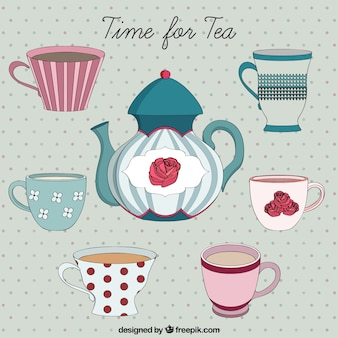 Disegnata a mano del tè tempo fo