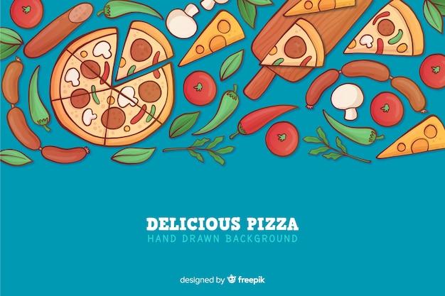 Disegnata a mano deliziosa pizza sullo sfondo
