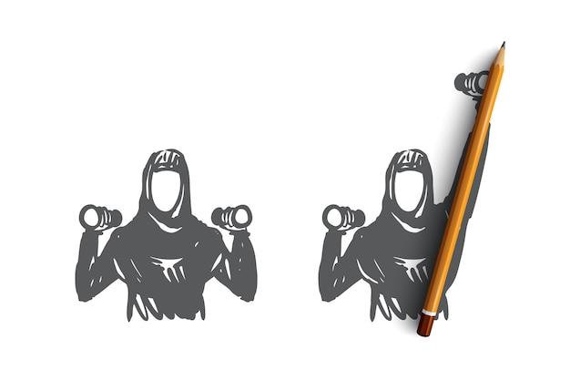 Disegnata a mano due donne musulmane facendo sport esercizi concetto schizzo