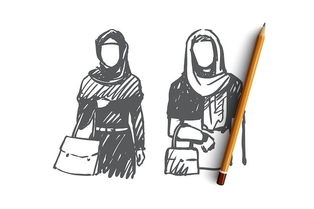 Disegnata a mano due donne musulmane sullo schizzo del concetto di acquisto