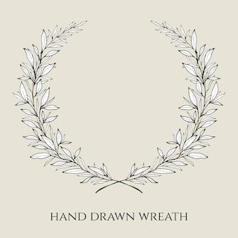 Disegnata a mano elegante corona di nozze