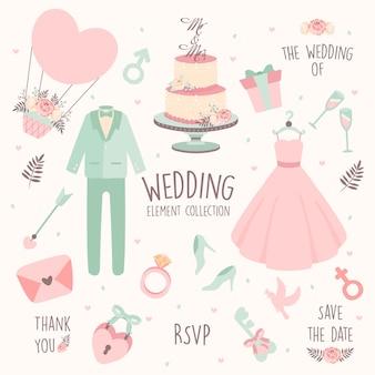 Disegnata a mano elemento di nozze-abito da sposa