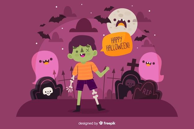 Disegnata a mano felice halloween sfondo