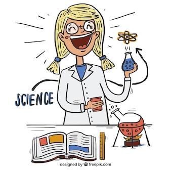 Disegnata a mano felice scienziato in laboratorio