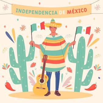 Disegnata a mano festa dell'indipendenza del messico