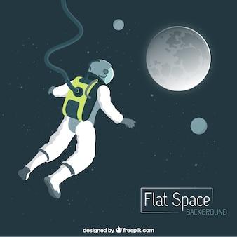 Disegnata a mano flying astronauta sulla luna