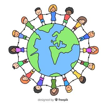 Disegnata a mano giornata di pace con i bambini