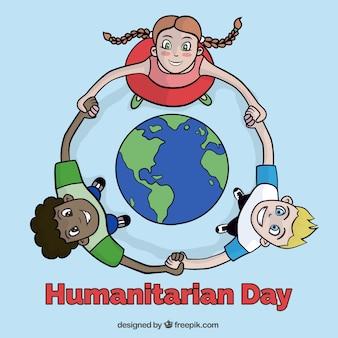 Disegnata a mano i bambini insieme in tutto il mondo di fondo