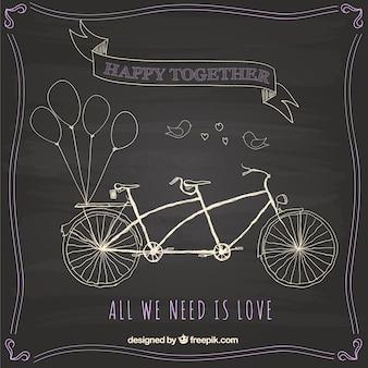 Disegnata a mano in bicicletta sulla lavagna