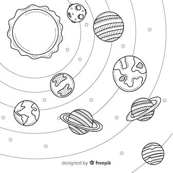 Disegnata a mano incantevole composizione del sistema solare