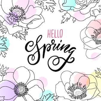 Disegnata a mano linea arte fiore e ciao lettering primavera.