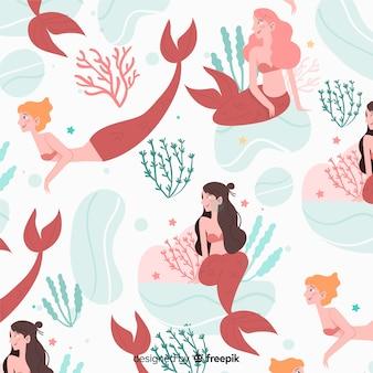 Disegnata a mano modello colorato sirena