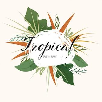 Disegnata a mano naturale di foglie e estate tropicale.