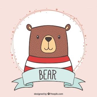 Disegnata a mano orso bello con una maglietta a strisce