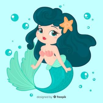 Disegnata a mano personaggio sorridente sirena