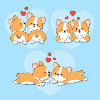 Disegnata a mano san valentino coppia di animali