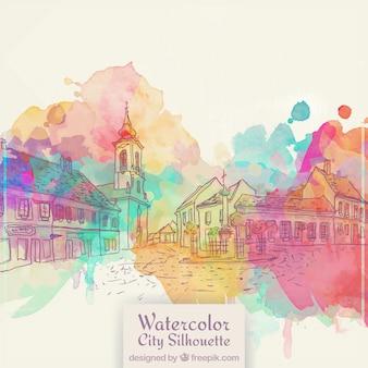 Disegnata a mano sfondo città vecchia con macchie acquerello
