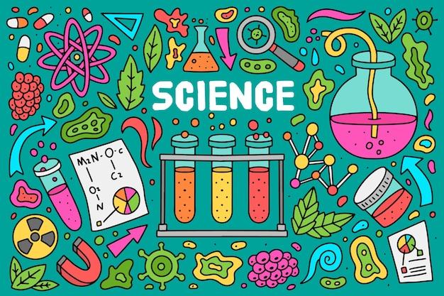 Disegnata a mano sfondo colorato educazione scientifica