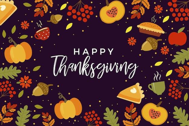 Disegnata a mano sfondo del ringraziamento con il cibo