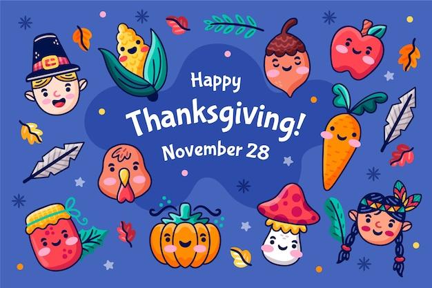Disegnata a mano sfondo del ringraziamento